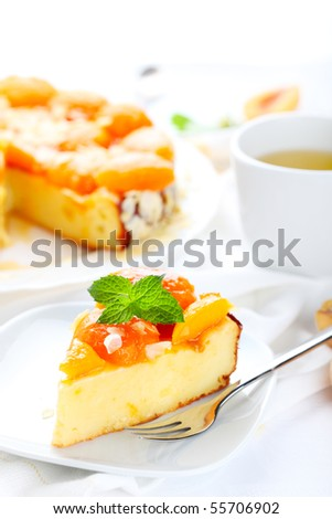 Cottage cheese and apricot tart - stock photo