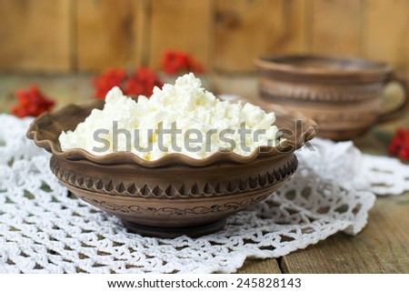 Cottage Cheese and milk in a clay pot - stock photo