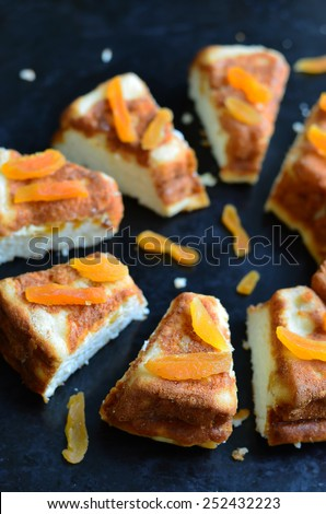 Cottage cheese cake with apricots; delicious cheesecake  - stock photo