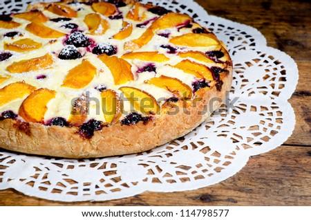 cottage cheese peach pie - stock photo