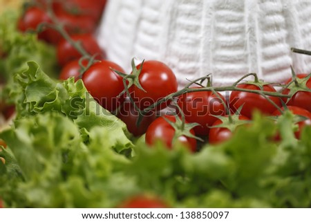 cottage cheese with cherry tomatoes - stock photo