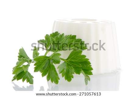 Cottage cheese with parsley leaf isolated on white background. - stock photo