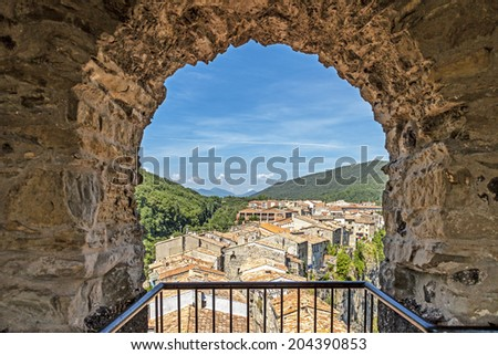 Cottage in a small village in Girona, Spain - stock photo