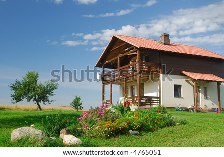Cottage on the nature - stock photo