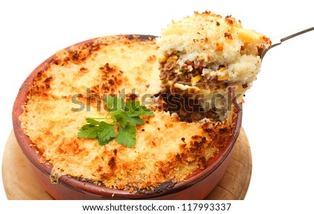Cottage Pie isolated on white - stock photo