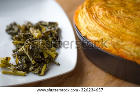 Cottage Pie with Turnip Greens - stock photo