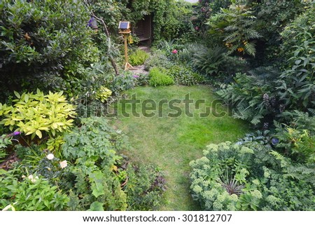 Cottage style garden taken from above - stock photo