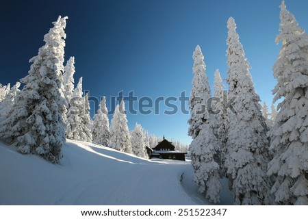 Cottage surrounded by winter scenery in the mountains. - stock photo