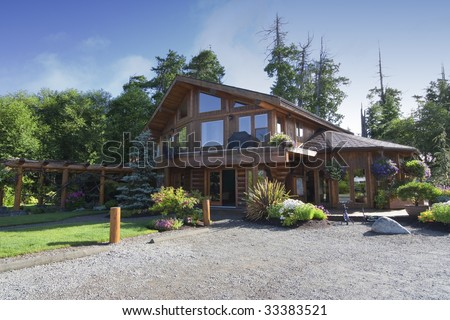 Cottage with Parking Lot - Vancouver Island, British Columbia, Canada - stock photo