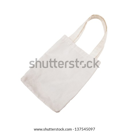 cotton bag on white isolated background - stock photo