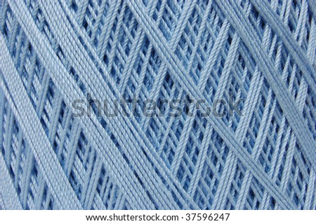 Cotton crochet thread in baby blue - stock photo
