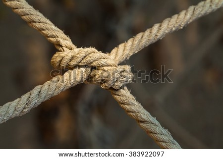 Cotton ropes with knot - stock photo