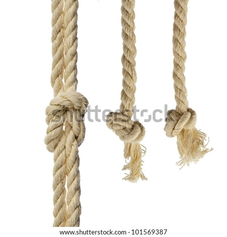 cotton ropes with knot isolated on white background - stock photo