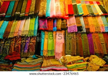 Cotton Scarves - stock photo