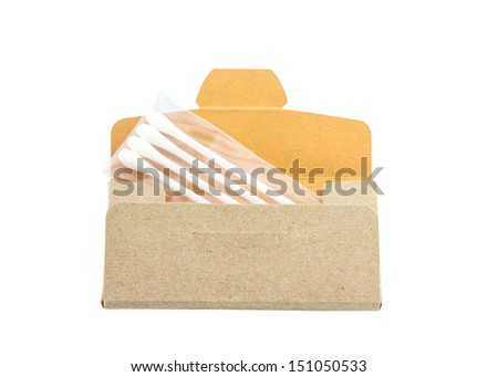 Cotton sticks in package isolate - stock photo
