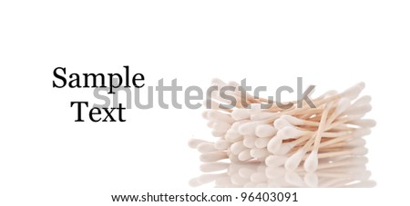 Cotton Swabs Against white Background with Space for Text - stock photo