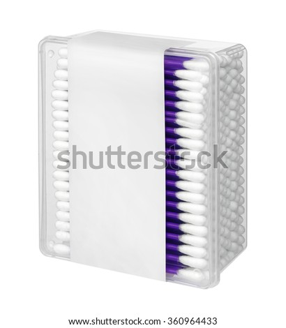 Cotton swabs in transparent plastic box - isolated on a white background. - stock photo