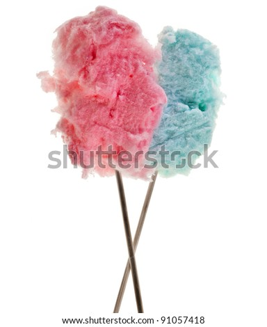 cotton sweet candy  isolated on white - stock photo