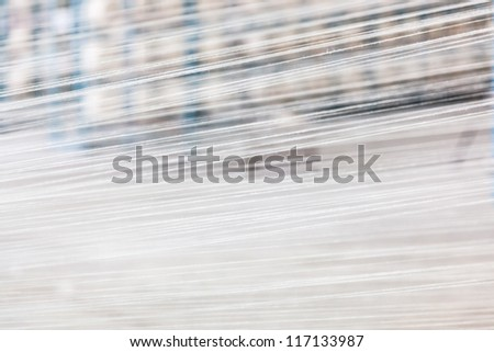 cotton threads combined together in a yarn factory - stock photo
