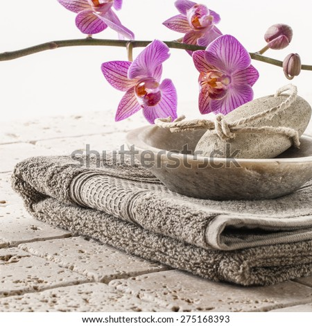 cotton towel and pumice for spa treatment - stock photo