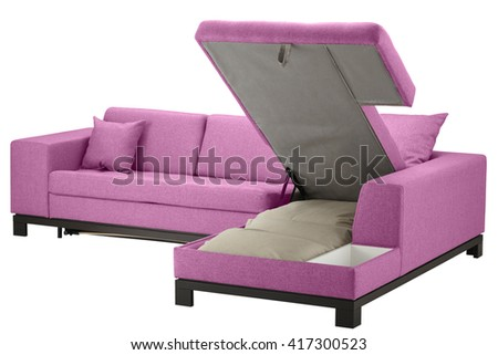 Couch bed. With storage isolated on white include clipping path - stock photo