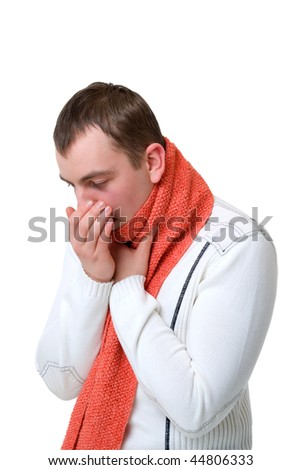 coughing sick man isolated on a white background - stock photo