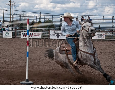 COULEE CITY, WA - APRIL 16:  Unidentified teen age 16 of Coulee City competes at a high school rodeo teen competition, offering unique learning to students  on April 16, 2010 in Coulee City, WA. - stock photo