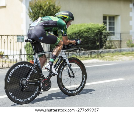 COULOUNIEIX-CHAMIERS,FRANCE-JUL26: The French cyclist Alexandre Pichot (Europcar Team) pedaling during the stage 20 ( time trial Bergerac - Perigueux) of Le Tour de France 2014. - stock photo