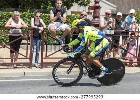 COULOUNIEIX-CHAMIERS,FRANCE-JUL26:The Portuguese  cyclist Sergio Paulinho (Tinkoff-Saxo Team) pedaling during the stage 20 ( time trial Bergerac - Perigueux) of Le Tour de France 2014. - stock photo