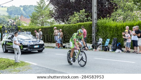 COULOUNIEIX-CHAMIERS,FRANCE-JUL26:The Slovak cyclist Peter Sagan (Cannondale Team) pedaling during the stage 20 ( time trial Bergerac - Perigueux) of Le Tour de France 2014.  - stock photo