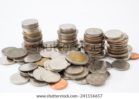 count money on white isolate  - stock photo