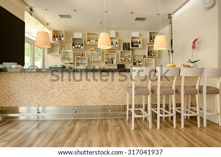 Counter in cafe bar - stock photo
