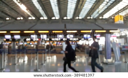 counter people Airport blurred background - stock photo