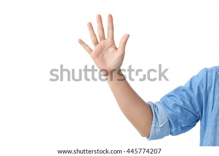 counting front hand with a shoulder in a jean shirt., isolated on white background. - stock photo
