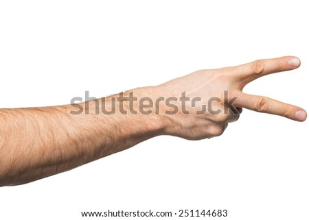 Counting gesture, male hand showing two fingers, isolated on white background - stock photo
