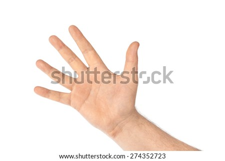 Counting hand - five - isolated on white background - stock photo