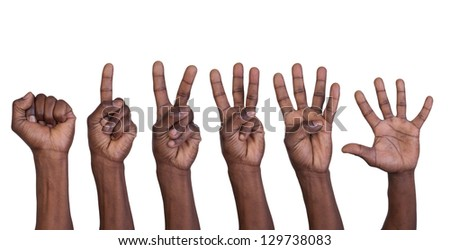 Counting hand isolated on white background - stock photo