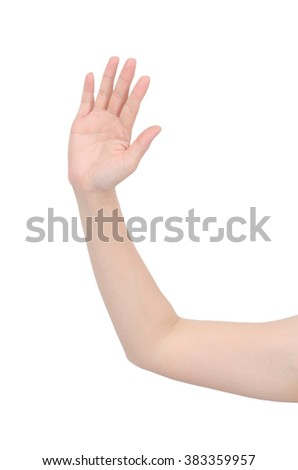 Counting hand on white background,with clipping path - stock photo