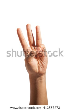 counting hand sign on white blackground - stock photo