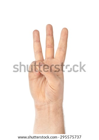Counting hand - three - isolated on white background - stock photo
