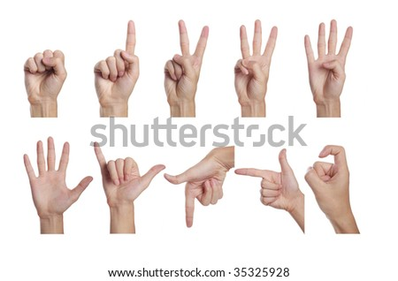 Counting men hands (0 to 9) - stock photo