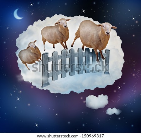 Counting sheep concept as a symbol of insomnia and lack of sleep due to challenges in falling asleep as a group of animals jumping over a fence in a dream bubble for bedtime in sleepy children. - stock photo