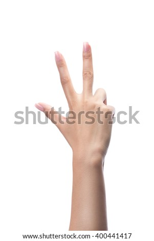 Counting woman hands three, number 3, isolated on white with clipping path - stock photo