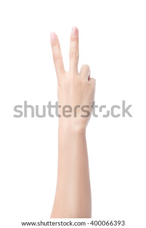 Counting woman hands two, number 2, isolated on white with clipping path  - stock photo