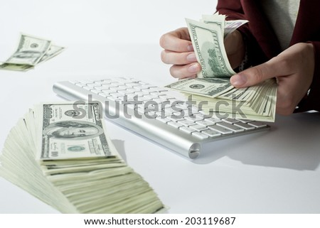 Counting your money - stock photo