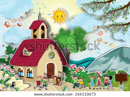 Country church with steeple happy kids running - stock photo