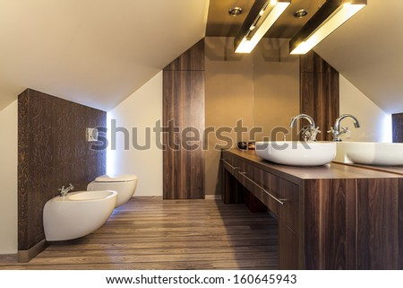 Country home - bright bathroom on the attic - stock photo