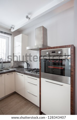 Country home - Oven, cooker and sink in modern kitchen - stock photo