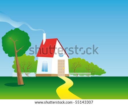 Country house in a meadow with trees - stock photo