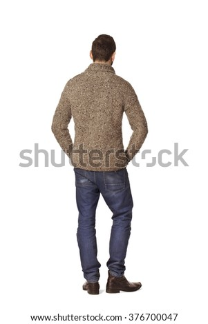 Country man back portrait in grey sweater. - stock photo